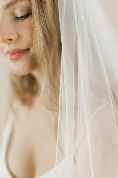 Violet - Ivory Stitched Edge Long Wedding Veil