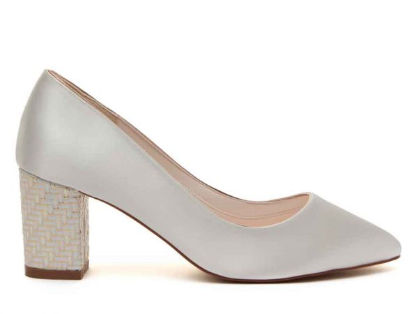 Bambi - Ivory Satin & Gold Parquet Block Heel Shoes