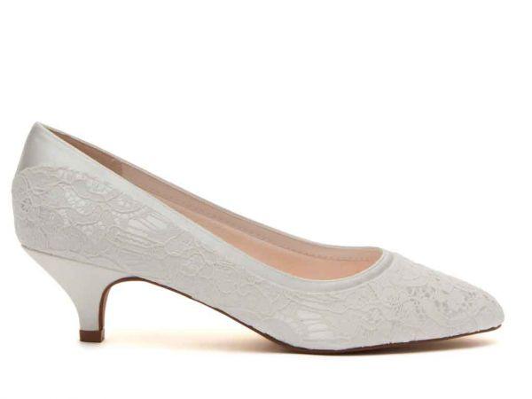 Bobbie - Ivory Satin & Luxury Lace Bridal Court Shoe