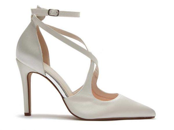 Chloe - Ivory Satin Statement Wedding Shoes