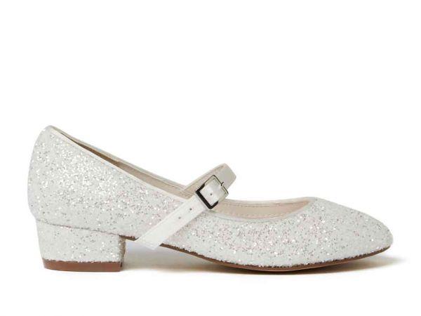 Edith - Ivory Snow Glitter Girls Bridesmaid Shoes