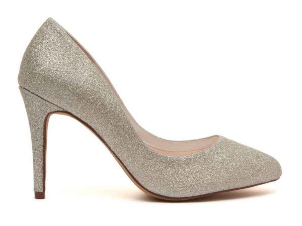 Erika - Silver Fine Shimmer Bridal Court Shoes