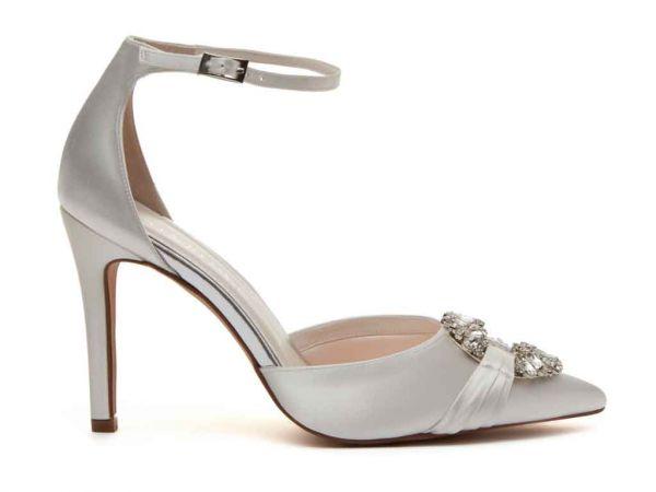 Filippa - Ivory Satin Ankle Strap Bridal Shoes