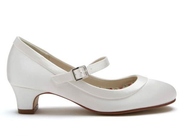 Maisie - Ivory Satin Flower Girl Shoes