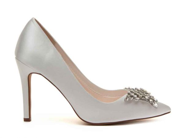 Nelly - Ivory Satin Bridal Court Shoes