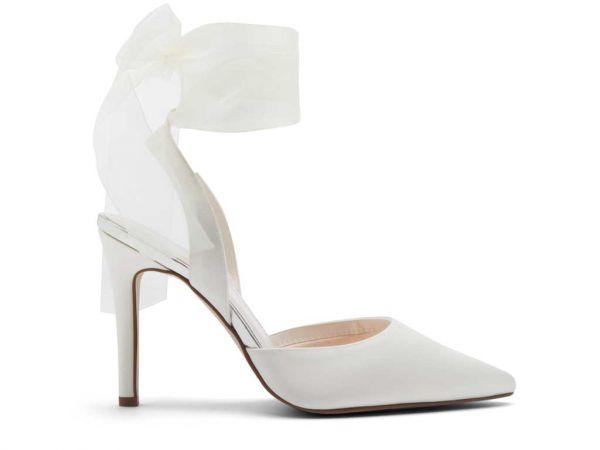 Pandora - Ivory Chiffon Ribbon Bow Bridal Shoes