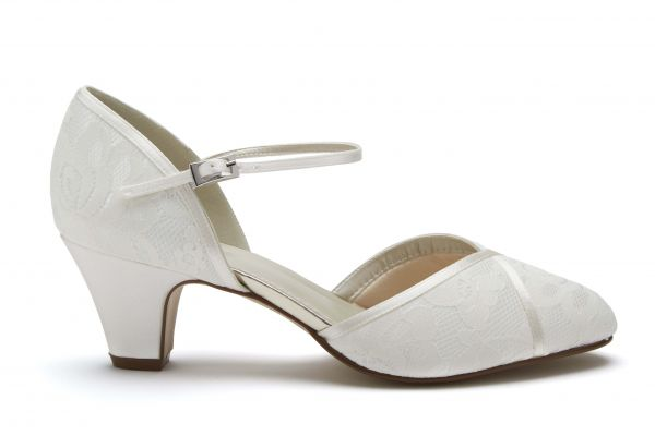Shirley - Ivory Satin & Lace Wide Fit Wedding Shoes