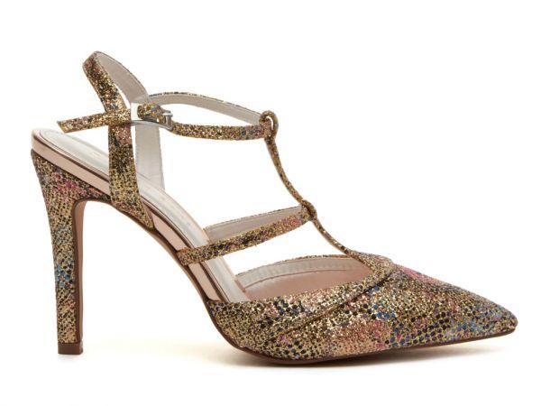 Rita - Gold Glitter Bomb Bridal Court Shoes