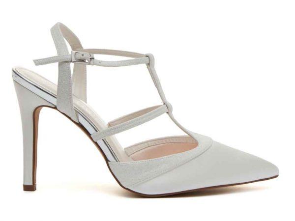 Rita - Ivory Satin & Ivory Fine Shimmer Court Shoes