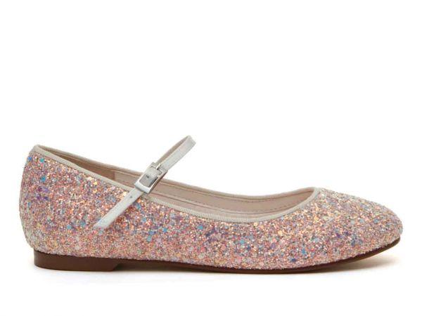 River - Pink Glitter Flower Girl Shoes
