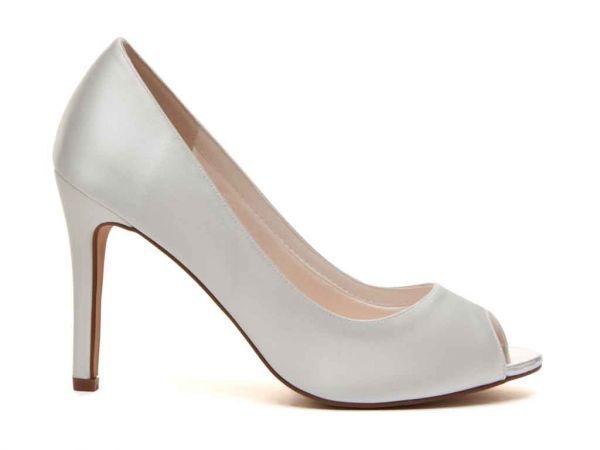 Robyn - Ivory Satin Peep Toe Wedding Shoes