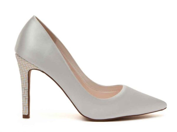 Rochelle - Ivory Satin & Gold Parquet Heel Court Shoes