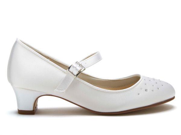 Verity - White Satin Girls Communion Shoes