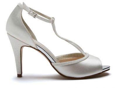 Gigi - Ivory Shimmer Peep Toe Bridal Shoes