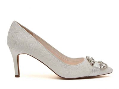 Giovanna - Ivory Satin & Luxury Lace Crystal Detail Shoes