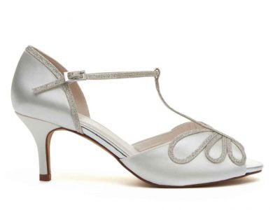 Harlow - Ivory Satin & Silver Fine Shimmer Peep Toe Shoes