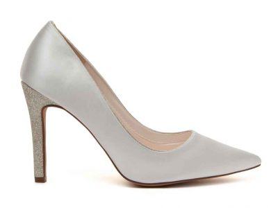 Kiki - Ivory Satin & Silver Fine Shimmer High Heel Shoes