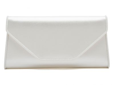 Roxi - Ivory Satin & Shimmer Envelope Handbag